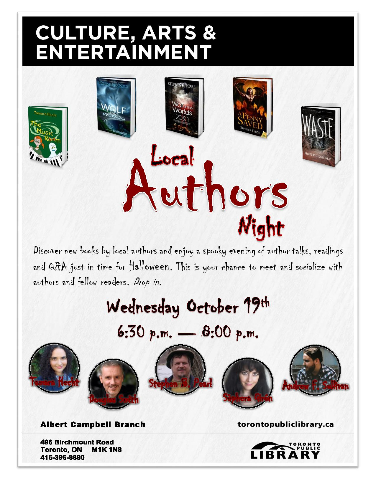 Albert Campbell Library Local Authors Night Oct 19